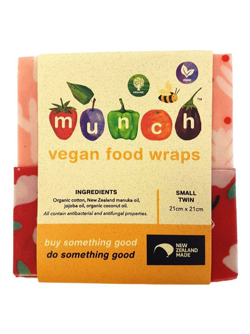 Organic VEGAN Munch Food Wraps - Red Floral (2 Pack), Small or Medium image 1