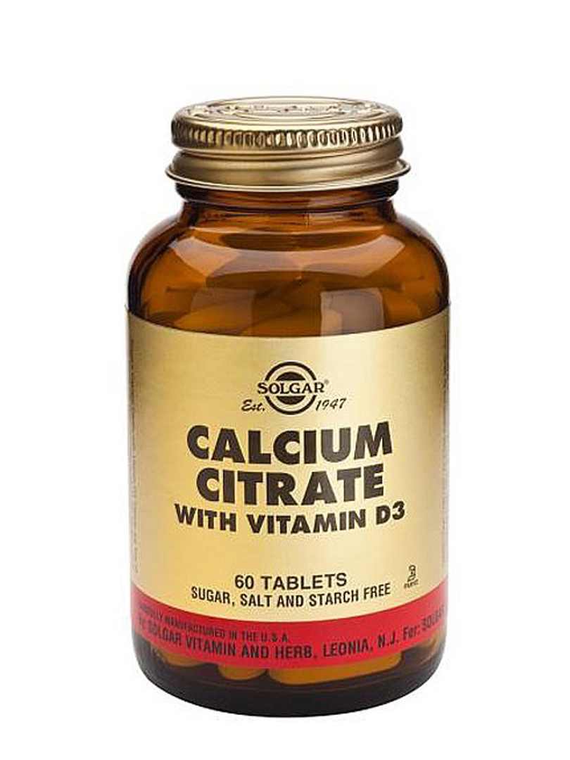 Solgar Calcium Citrate with Vitamin D3, 60 Tablets image 0