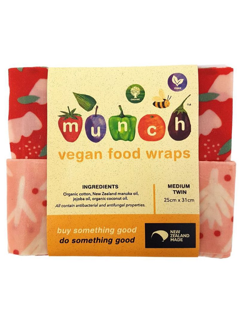 Organic VEGAN Munch Food Wraps - Red Floral (2 Pack), Small or Medium image 0