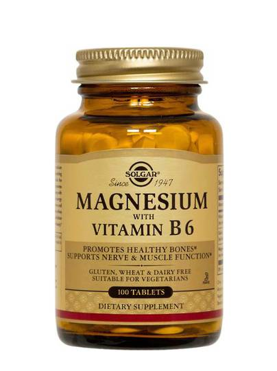 Solgar Magnesium with Vitamin B6, 100 tablets