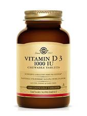Solgar Vitamin D3 1000 IU Chewable Tablets - Natural Strawberry Banana Swirl Flavour
