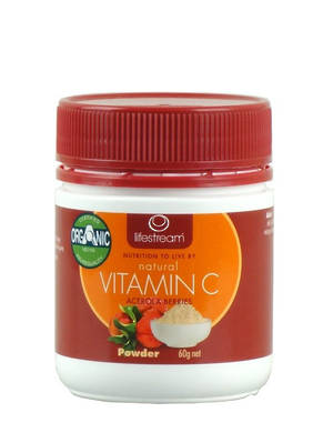 LifeStream Natural Vitamin C Powder - Certified Organic 60g (BB End Oct 2018) 2 for price of 1.